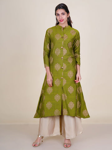 Golden Floral Printed Shimmer Buttoned Kurti
