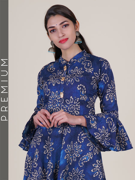 Kundan & Crystal Work Wooden Buttoned Cotton Jacquard Kurti – Ultramarine Blue