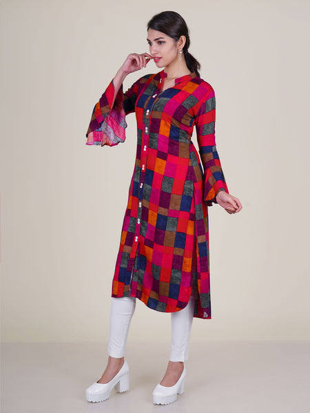 Mother-Pearl Buttoned Asymmetric Chequered Kurti - Cardinal Red