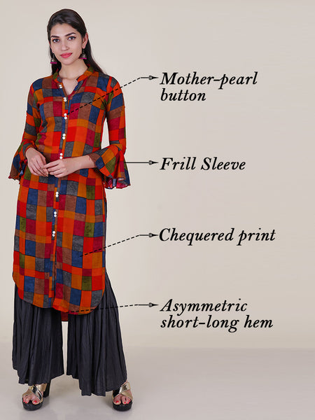 Mother-Pearl Buttoned Asymmetric Chequered Kurti - Orange