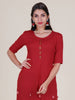 Brass Tabs, Resham, Tassels & Beads Work Printed Kurti - Red