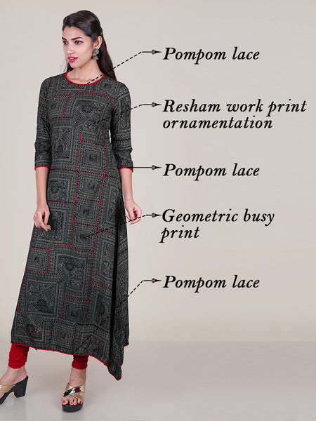 Resham Work Geometric Busy Printed Cotton Kurti