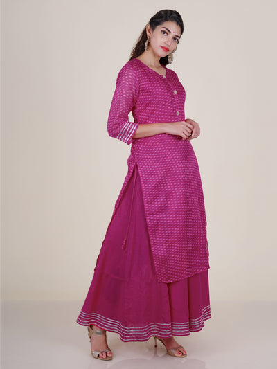 Crystal, Pearl & Dabka Work Buttoned Kota & Gota Lace Work Kurti  - Double Layered