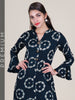 Mirror & Resham Work Crystal Encased Metal Buttoned Kurti – Prussian Blue