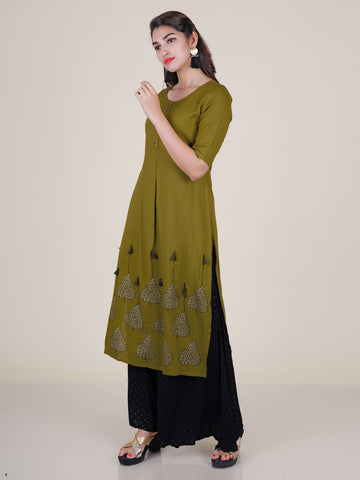 Brass Tabs, Resham, Tassels & Beads Work Printed Kurti - Dark Olive Green