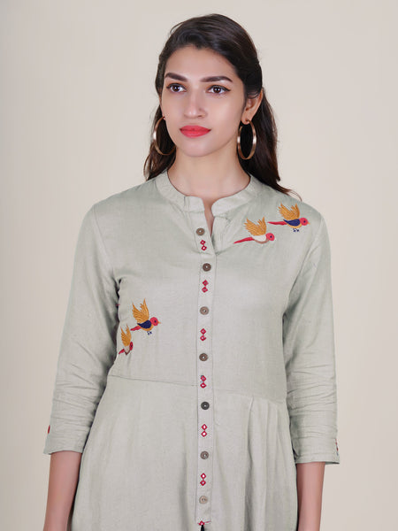 Foil Mirror & Resham Bird Buta Work Pleated Slub-Cotton Kurti –  Grey