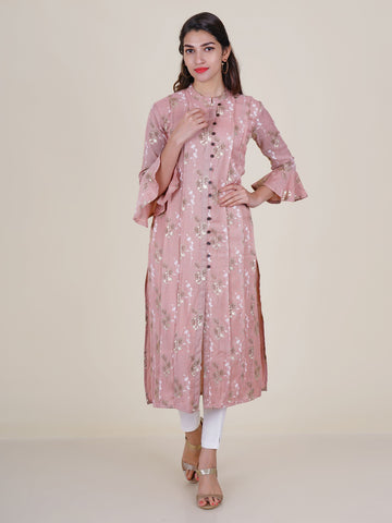 Blind Tucked Foil Printed Frill Sleeves Kurti