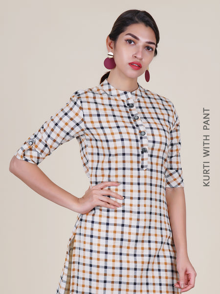 Chequered Print Cotton Handloom Kurti & Striped Palazzo Set - Off-White & Mustard Brown