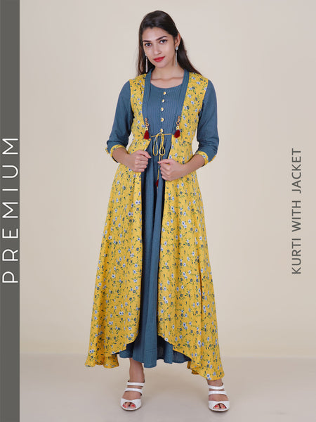Beaded & Tasselled Floral Print Jacket & Woven Striped Cotton Kurti