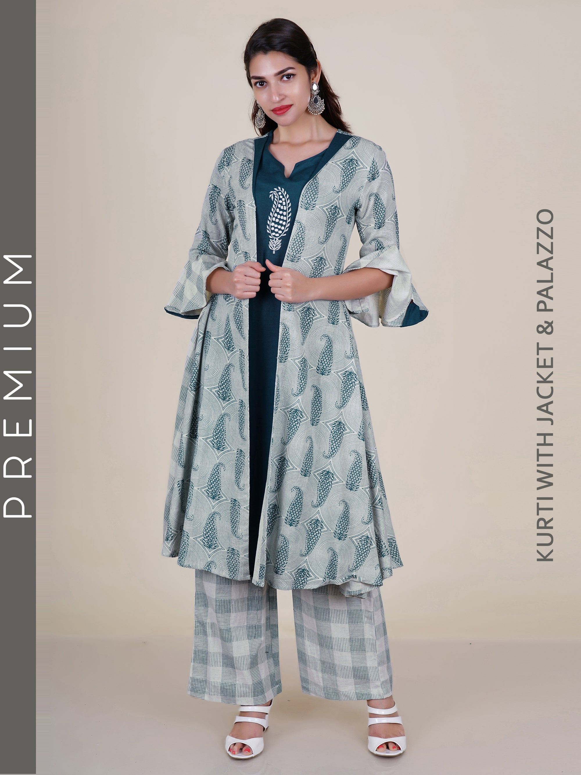 f32a87fe3 Paisley Printed Jacket with Solid Kurti & Chequered Palazzo Set - Fashor