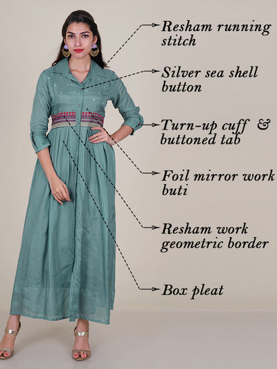 Foil Mirror & Resham Work Box Pleated Kurti