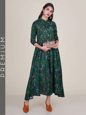 Green &  Multi Coloured Vintage Mughal Floral Printed Kurti