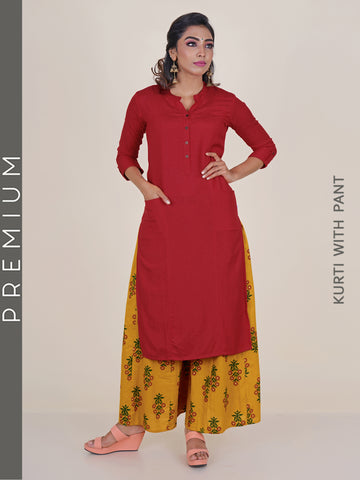 Princess Panelled Cotton Kurti With Sunflower Print Panelled Palazzo - Red