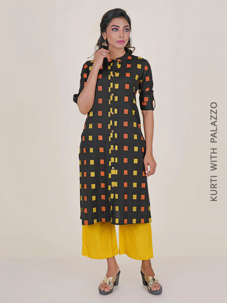 Brown Colour Block Printed Kurti with Palazzo
