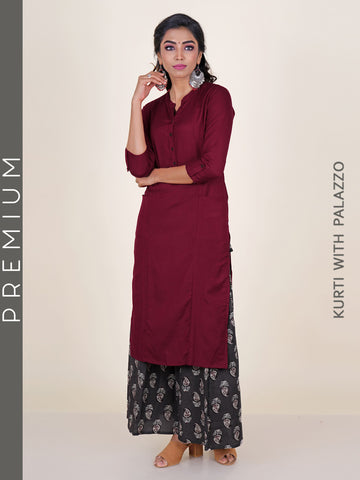 Princess Panelled Kurti With Ethnic Leaf Printed Palazzo - Maroon