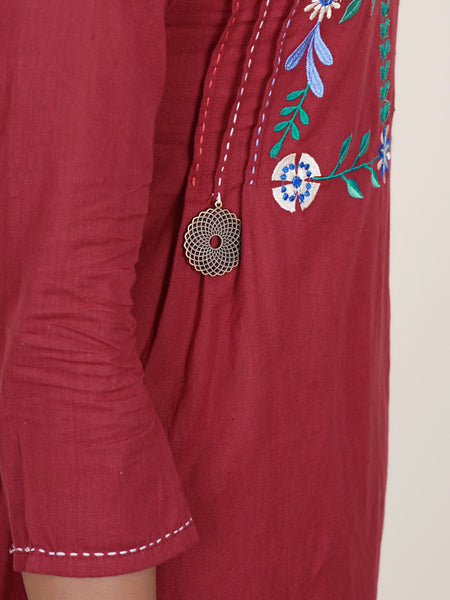 Maroon Embroidered Kurti with Printed Palazzo