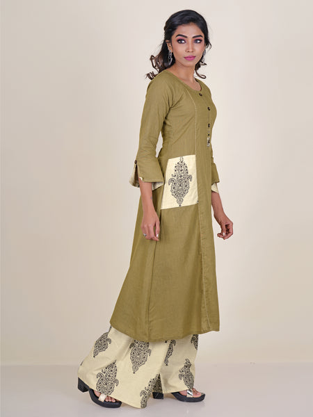 Coconut Shell Button & Resham Running Stitch Kurti with Printed Palazzo