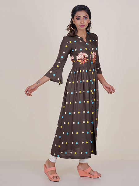 Brown Multi Coloured Polka Dots Printed Kurti