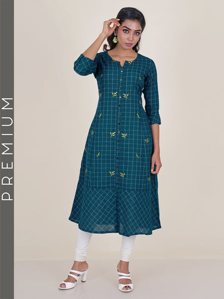 Checked Mirror Detail & Embroidered Cotton Kurti - Teal Blue