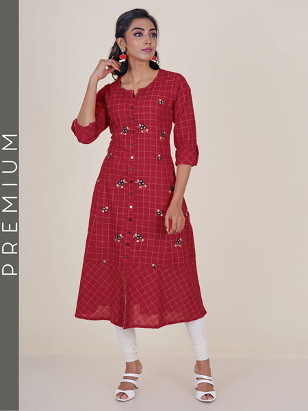 Checked Mirror Detail & Embroidered Cotton Kurti - Red