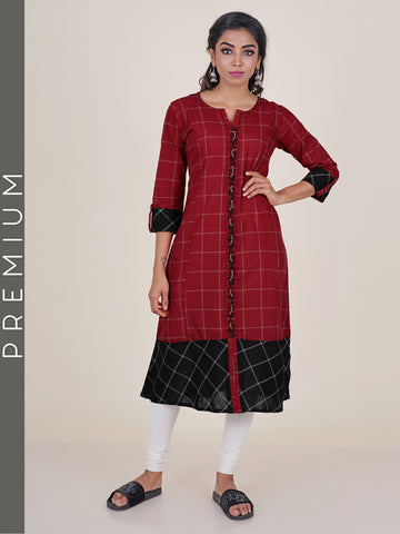 Checked Black & Red Embroidered Kurti