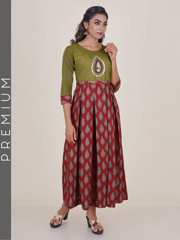 Ethnic Leaf Print Box Pleated Cotton Kurti