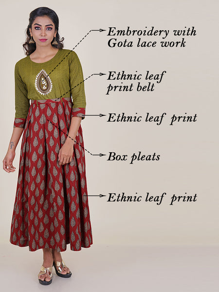 Ethnic Leaf Print Box Pleated Kurti