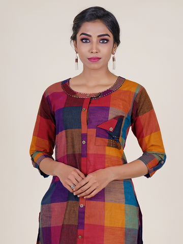 Multicolor Chequered Angle Folded Pocket Kurti