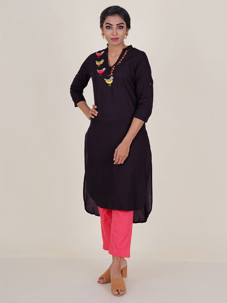 Pearl & Foil Mirror Bird  Embroidered Cotton Kurti - Purple