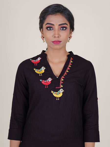 Pearl & Foil Mirror Bird  Embroidered Kurti - Purple