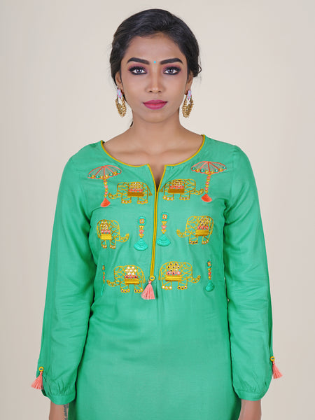 Elephant Embroidered & Tassel Detail Kurti - Aqua Green