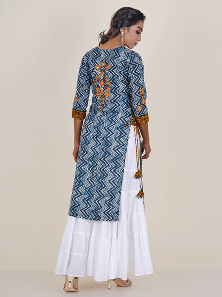 Indigo Embroidered & Chevron Printed Kurti