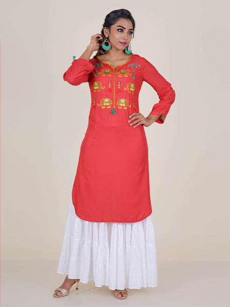 Elephant Embroidered & Tassel Detail Kurti - Peach
