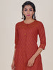 Leaf Prints & Resham Running Stitch Detail Kurti - Orange