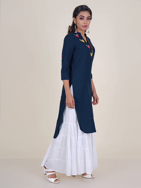 Pearl & Foil Mirror Bird  Embroidered Kurti - Dark Blue