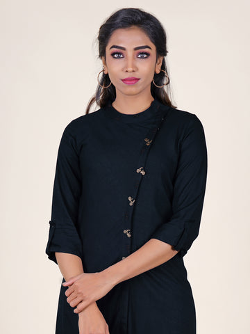 Cycle Brooch Studded Asymmetric Placket & Hemline Kurti - Navy Blue