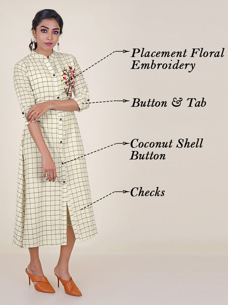 Floral Placement Embroidered & Checked Kurti with coconut Shell button detail
