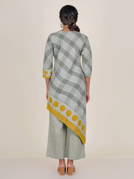 Grey Checked Asymmetrical kurti with Printed Palazzo