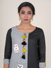 Grey Striped Colorblocked Applique Work Kurti