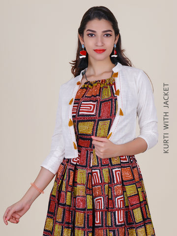 Block Printed Dori Tie-up Neckline Kurti With Jacket