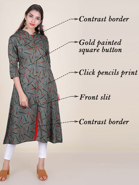 Click Pencils Print Kurti - Grey