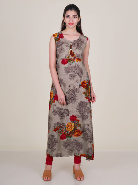 Resham Work Shrug With Paisley & Floral Print Kurti