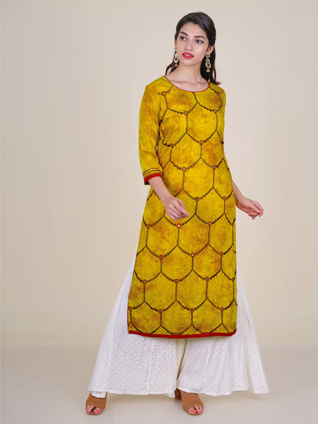 Resham & Foil mirror Work Honey-Comb Jaal Kurti - Mustard Yellow