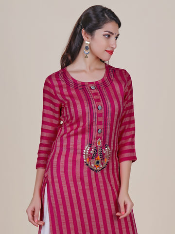 Gotakari Buta Work Striped Kurti