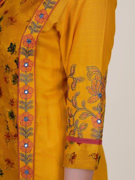 Floral Resham Work Border & Buttoned Printed Panelled Kurti - Mustard Yellow