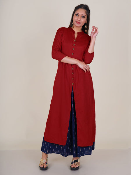 Oxidised Ethnic Brooch Studded Pleated Kurti – Rust Red