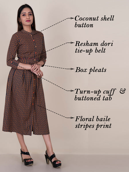 Beads, Tikki & Tasseled Resham Dori Belt & Floral Baile Striped Kurti