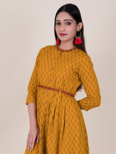 Resham Work Belt With Ikkat Style Printed Cotton Kurti