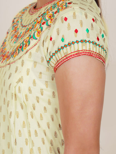 Resham & Zari Work Golden Khadi Printed Cotton Kurti