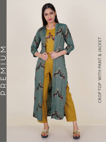 Resham Bird Buta Crop Top, Pant & Khadi Printed Long Jacket Set